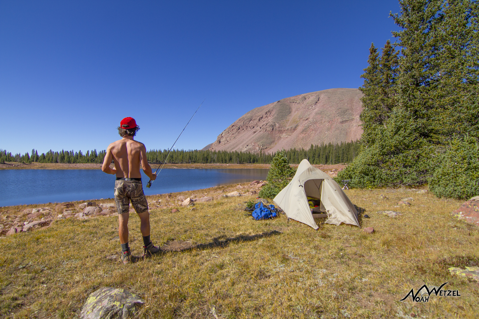 Pretty much daily life...coffee, fish, read, sleep, read, fish, sleep...repeat @ East Timothy Lake. High Uintas Wilderness. Utah