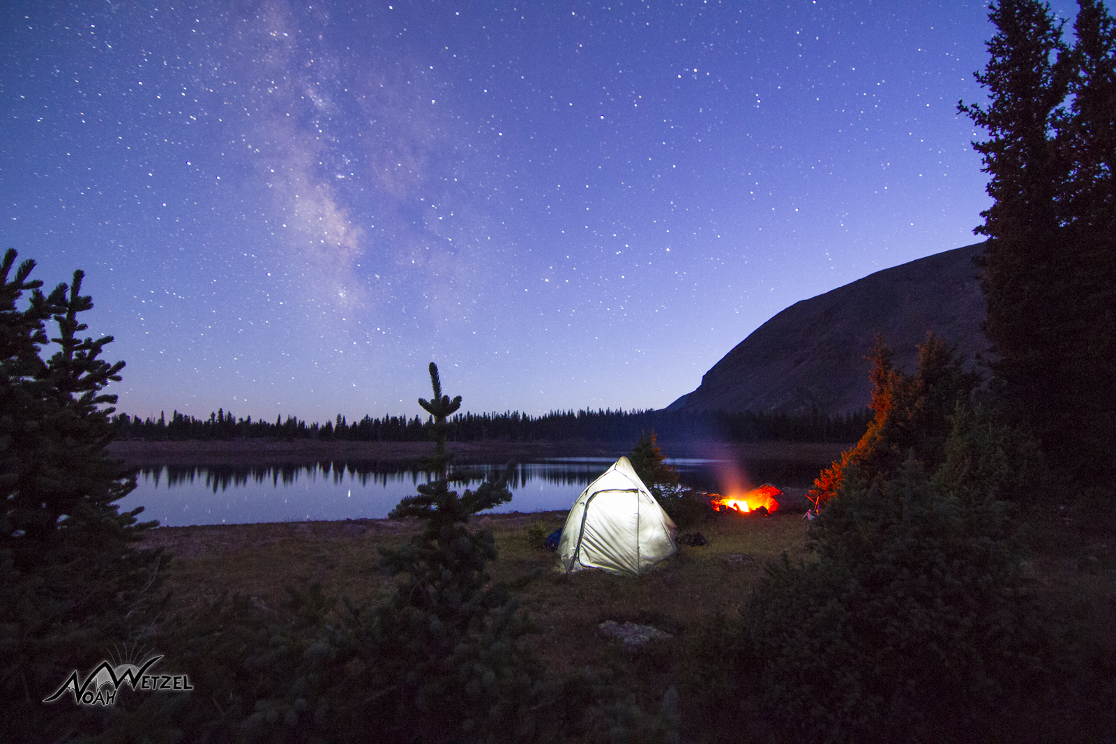Twilight at East Timothy Lake. High Uintas Wilderness. Utah