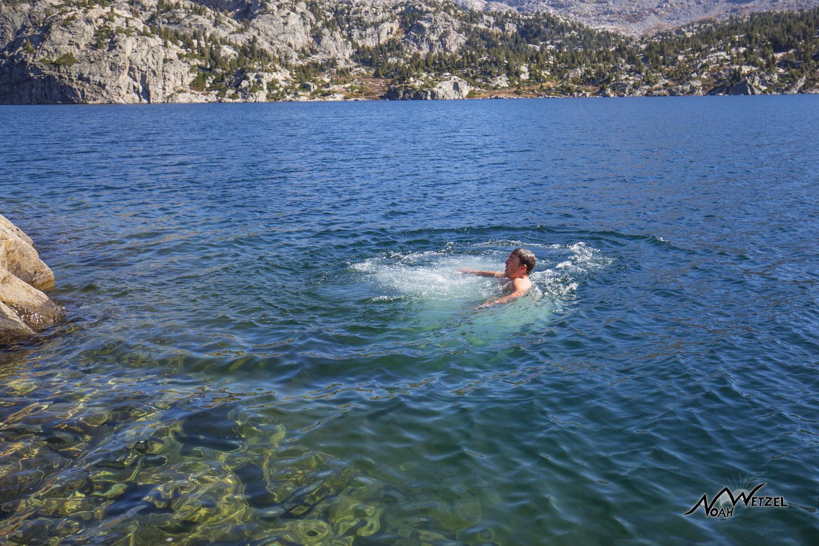 Ben taking a dip in Seneca Lake in the Wind River Range. Wyoming