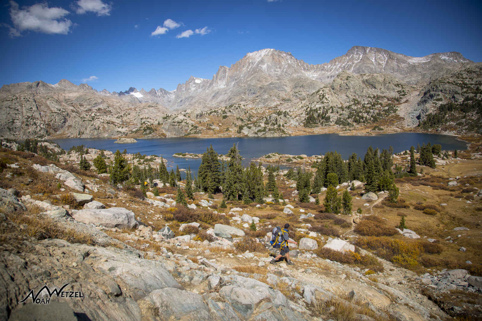Ben passing by Island Lake in the Wind River Range. Wyoming