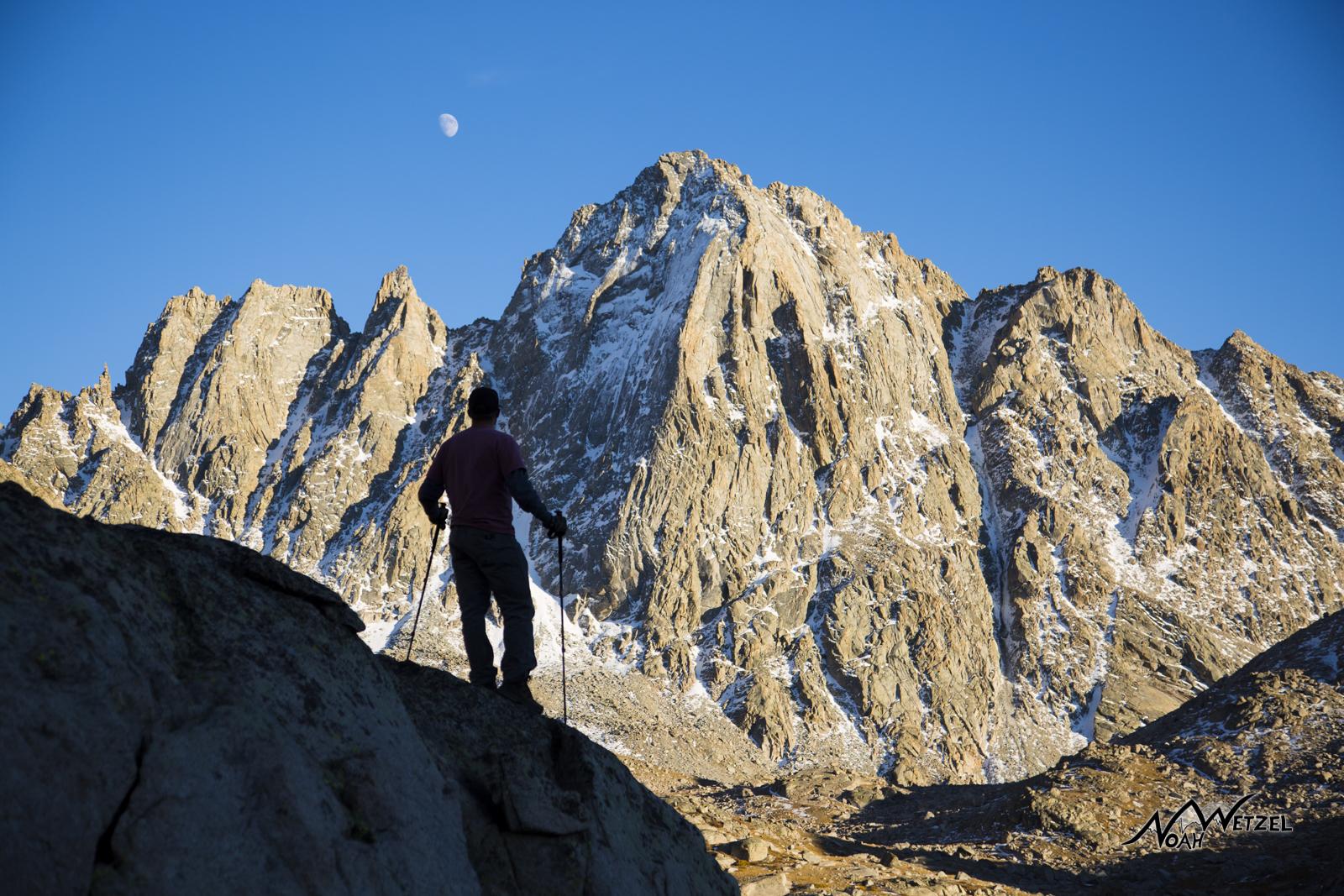 Ben Wetzel overlooking Indian Basin and Harrower Peak. Wind River Range. Wyoming