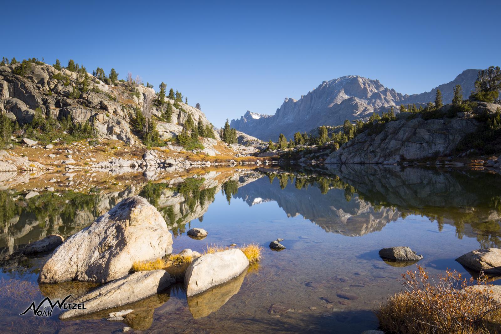 Morning reflection at Island Lake. Wind River Range. Wyoming
