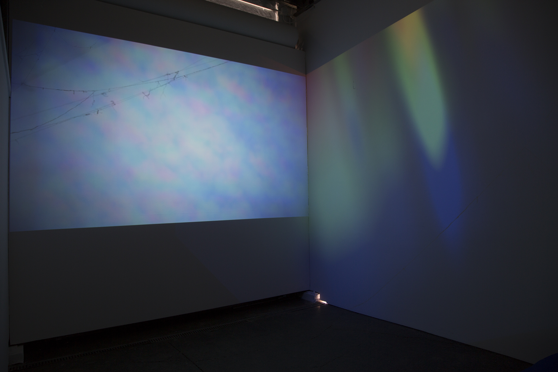 Fata Morgana  at Aggregate Space Gallery Collaboration with Oliver Leach and Dimitra Skandali Video projections ( Sky Prism  and  Oceanic Prism ), suspended sea grass, found strings & Indonesian monofilament, 2017