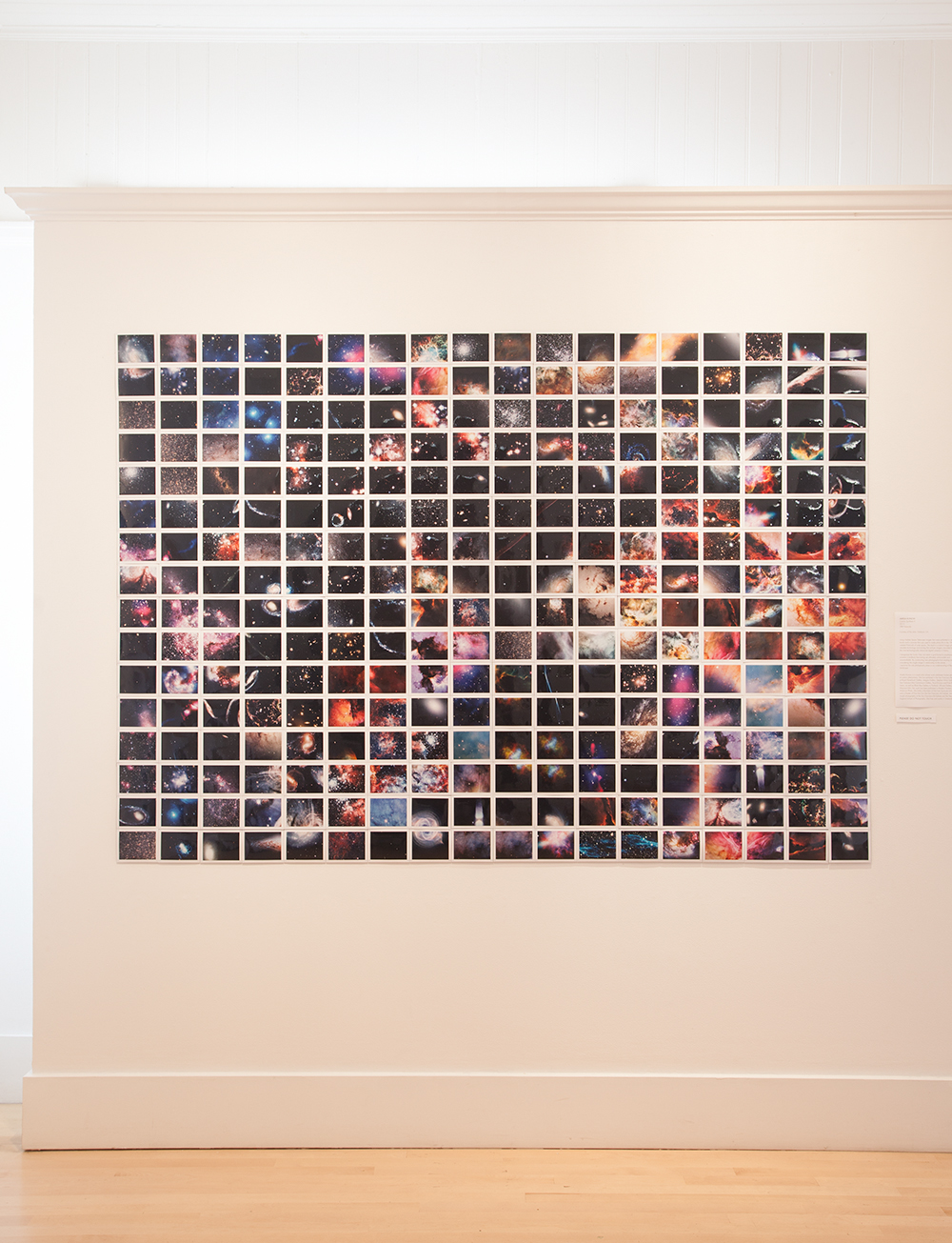 Cosmic Synthesis II  installed in Cosmic Wonders: The Moon, The Stars, and the Space Between at Bolinas Museum, Bolinas, California. The piece is a montage of 288 Polaroids of outer space, 54 x 76.5 inches, 2013.