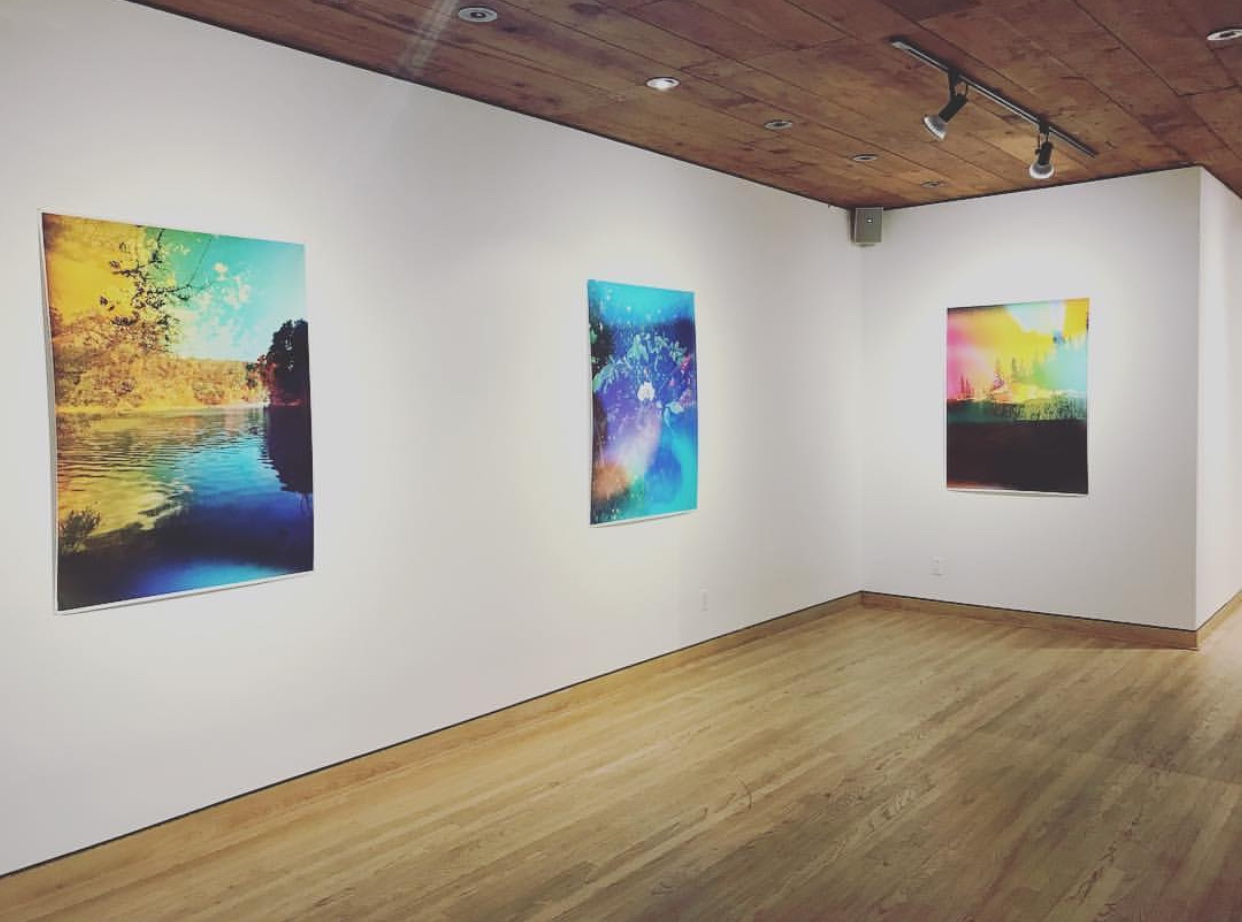 Installation view of Multiple Realities / Particular Truth, Flatland Gallery, Houston TX. Left to right:  Lake Chabot Aura , Industrial inkjet print on newsprint, 48 x 36 in, 2017.  Wild Rose Aura , Industrial inkjet print on newsprint, 48 x 36 in, 2018.  Mount Shasta Aura , Industrial inkjet print on newsprint, 48 x 36 in, 2017.