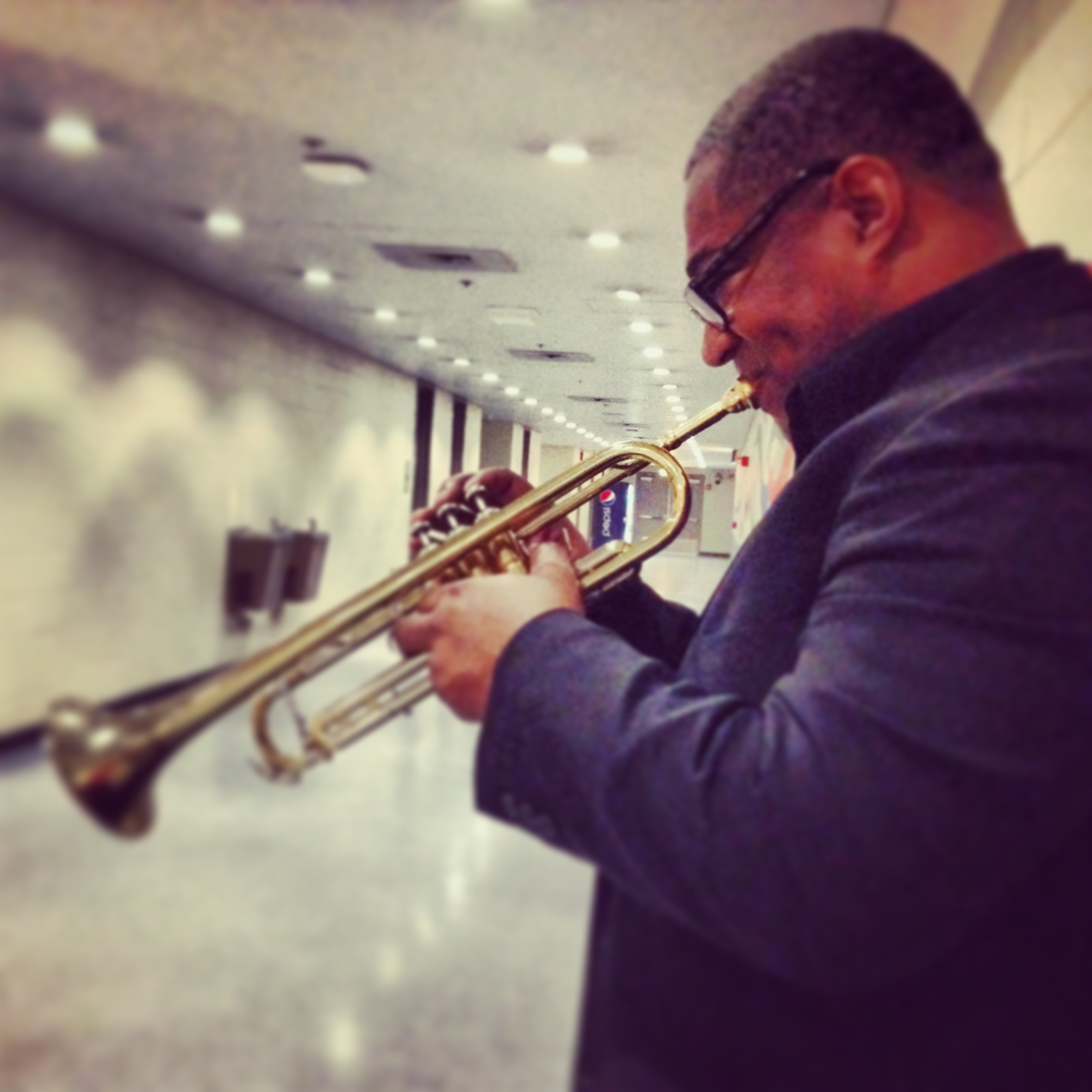 Warming my chops before the show.