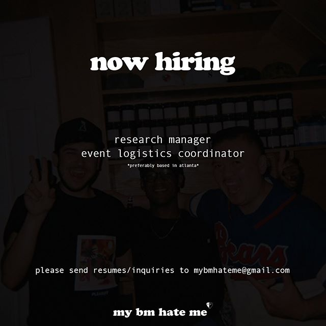 we're growing & need two people who prefer whiskey and want to do some cool shit with us. tell a friend to tell a friend. email us @ mybmhateme@gmail.com for more info.