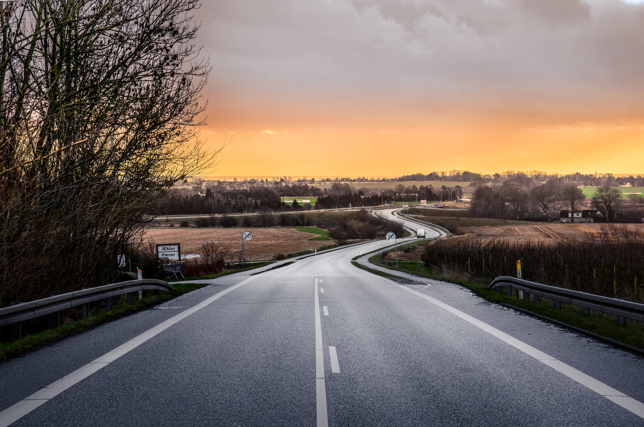 One of the roads leading towards Aarhus.