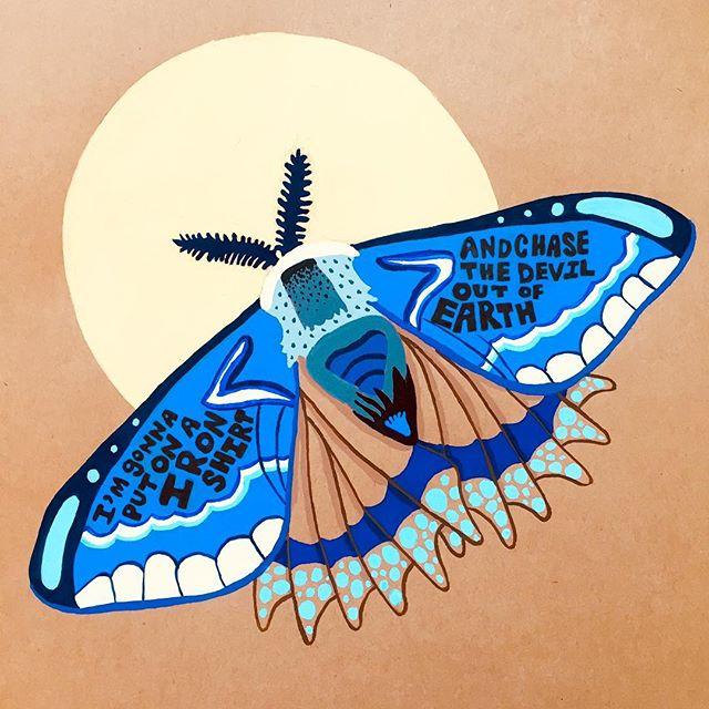 Disco Devil in Blue. . . . . . #illustration #design #moth #disco #devil