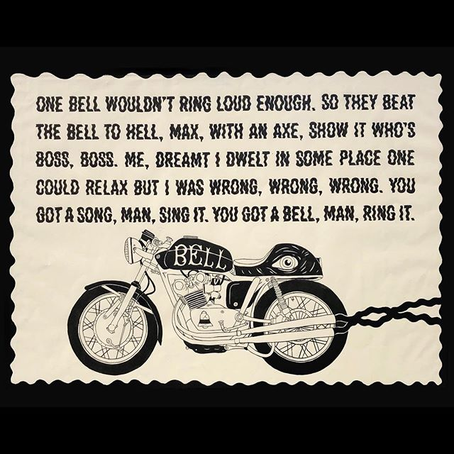 One bell wouldn't ring loud enough. So they beat the bell to hell, Max, with an axe, to show it who's boss, boss. Me, I dreamt I dwelt in some place one could relax but I was wrong, wrong, wrong. You got a song, man, sing it. You got a bell, man, ring it. . . . . #seattleartist #pnwart #illustration #drawing #art #artist #illustrator #artoftheday #posterdesign #robertcreeley #karlmaxx