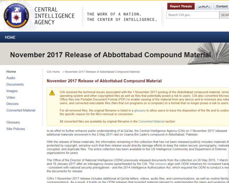 Announcement of the release of the Abbottabad Compound Material