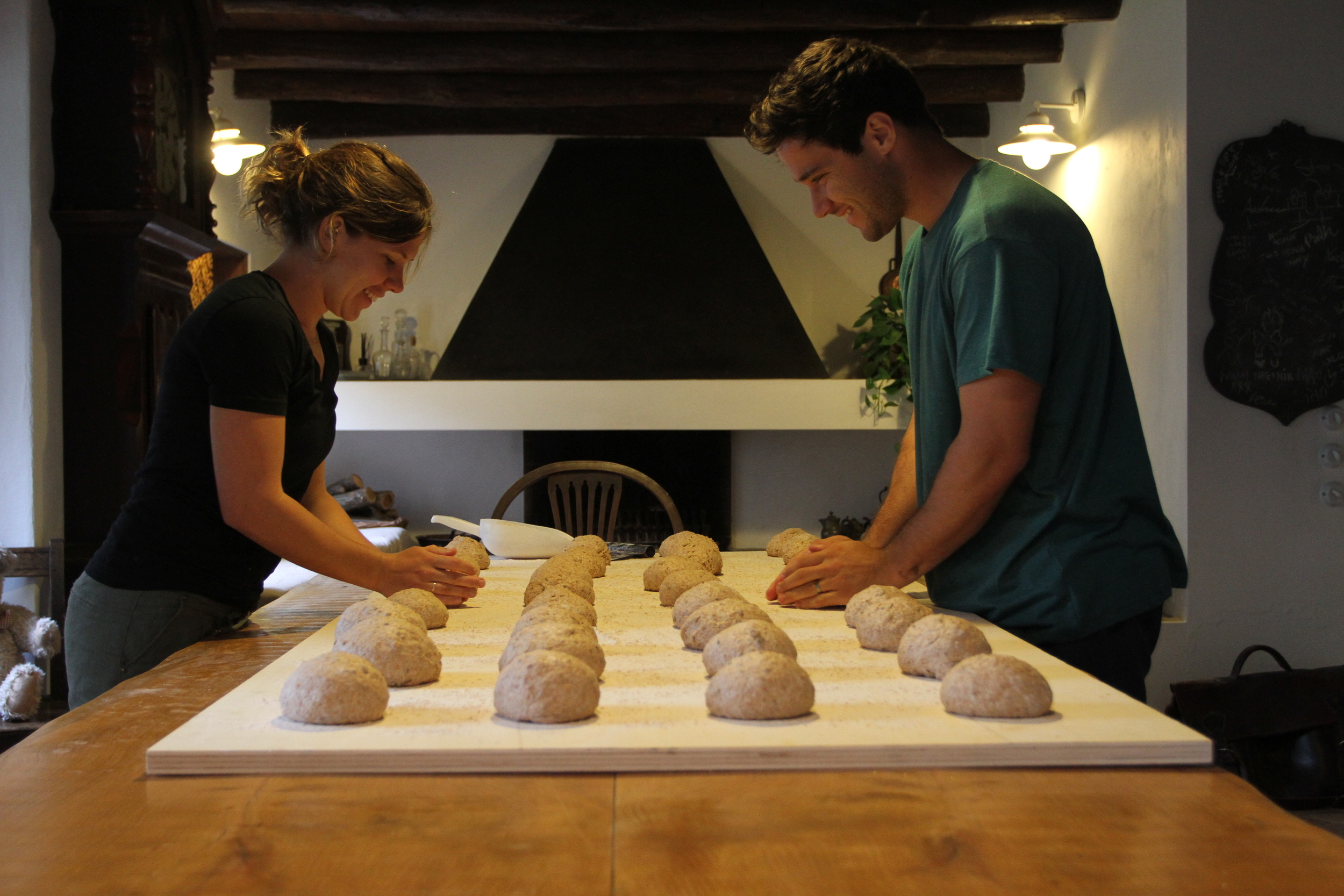 Shaping the dough before proofing