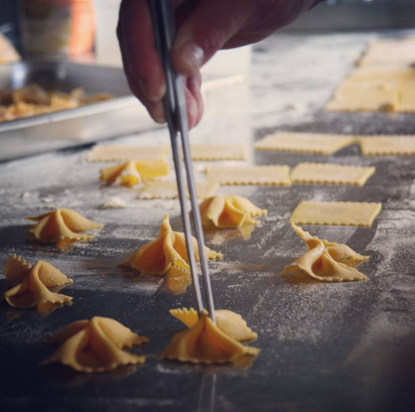 Butterfly pasta cinched together by Chef Andrea
