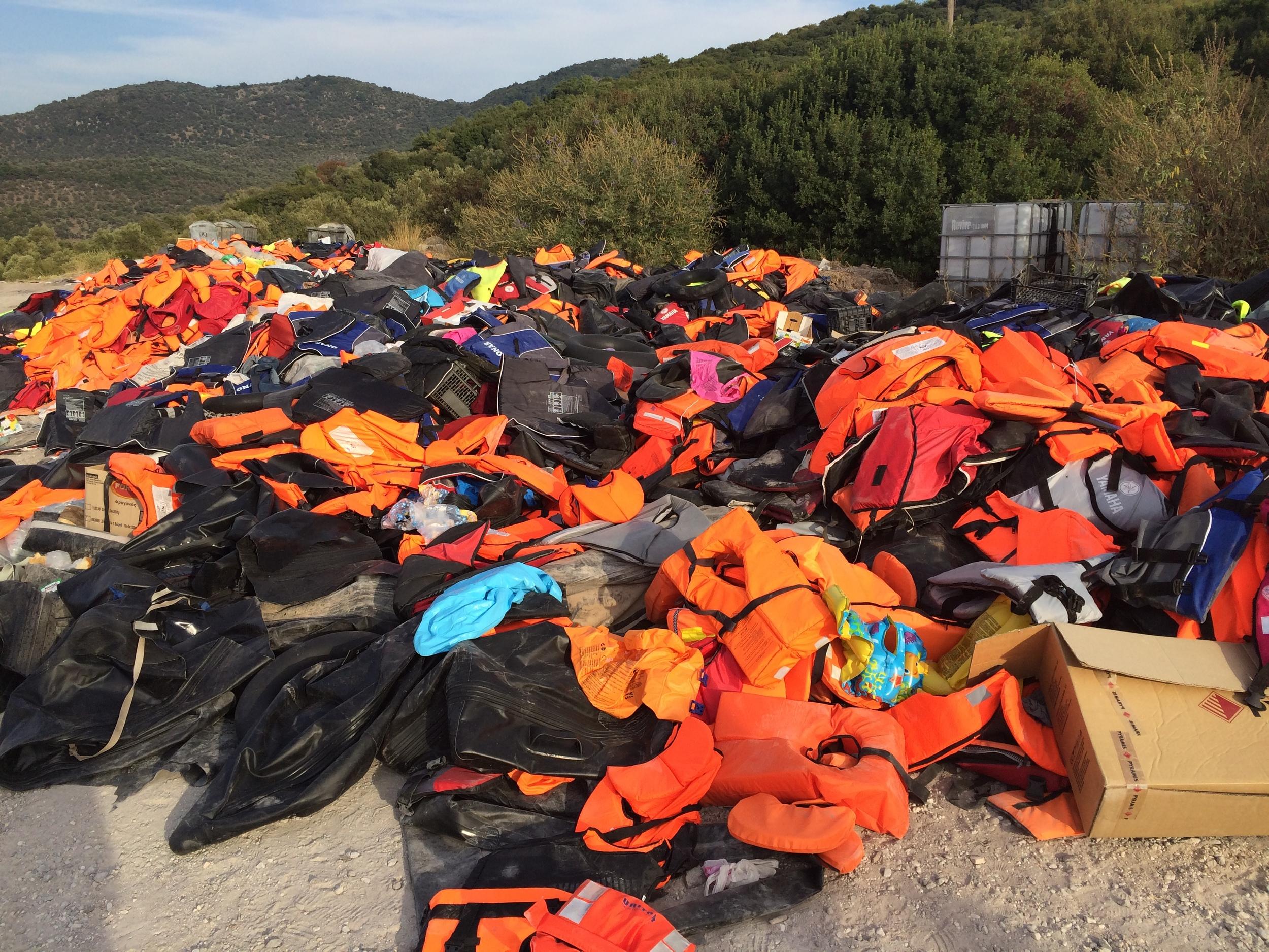 Lifejackets, Lesbos.  © Katy Lee
