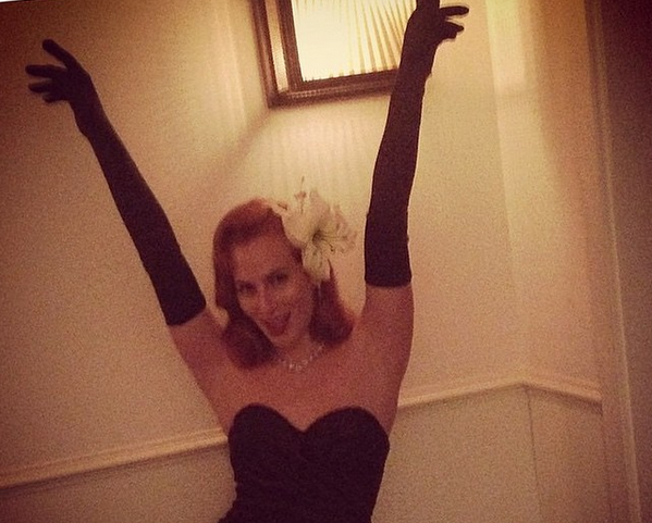 Charlotte Olympia looking perfect in our Swarovski crystal encrusted lily for Mario Testino's birthday celebrations.