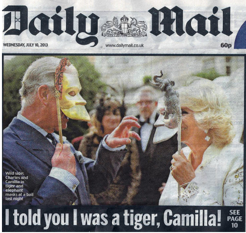 HRH Prince Charles and HRH the Duchess of Cornwall pictured in the Daily Mail in our Bangal Tiger and Asian Elephant masks, specially made for the Elephant Family fundraiser.