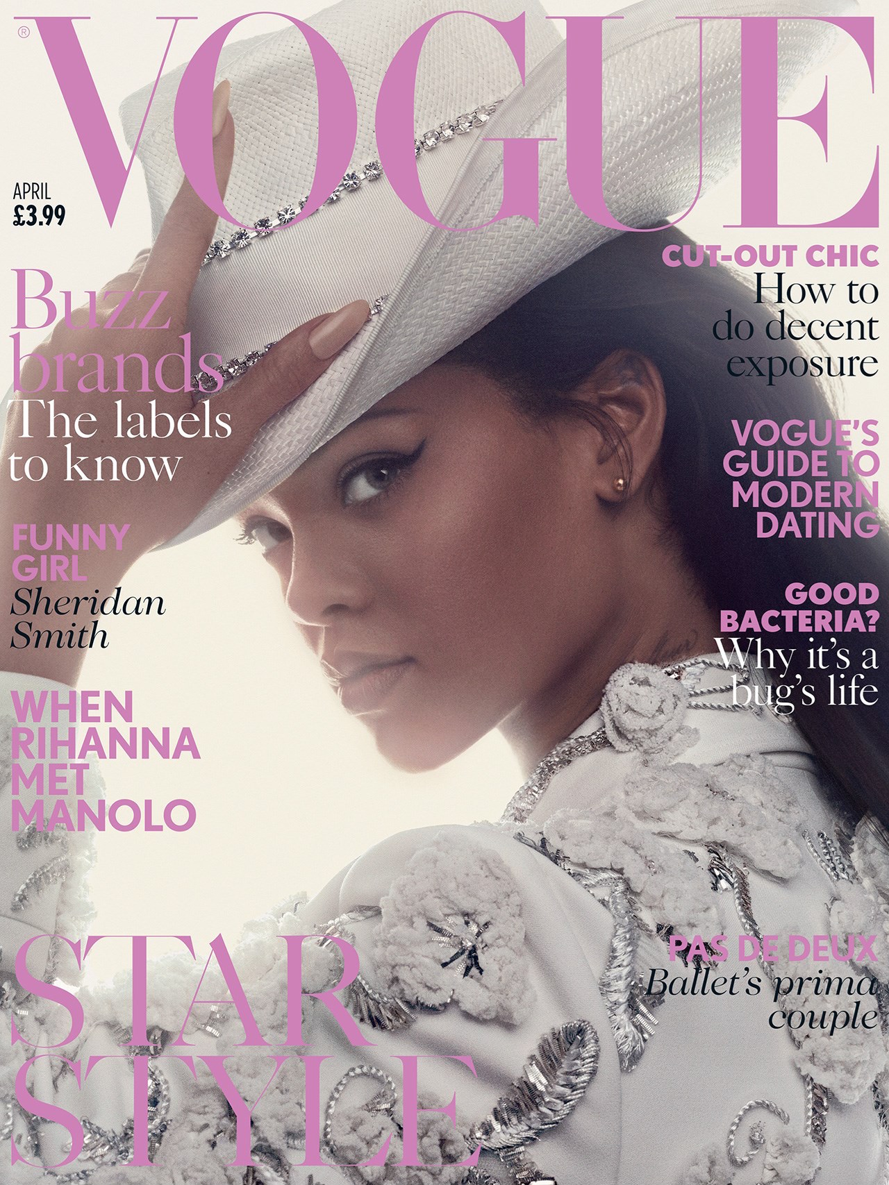 @rihanna wearing crystal encrusted Cowboy Hat on the cover of British Vogue.