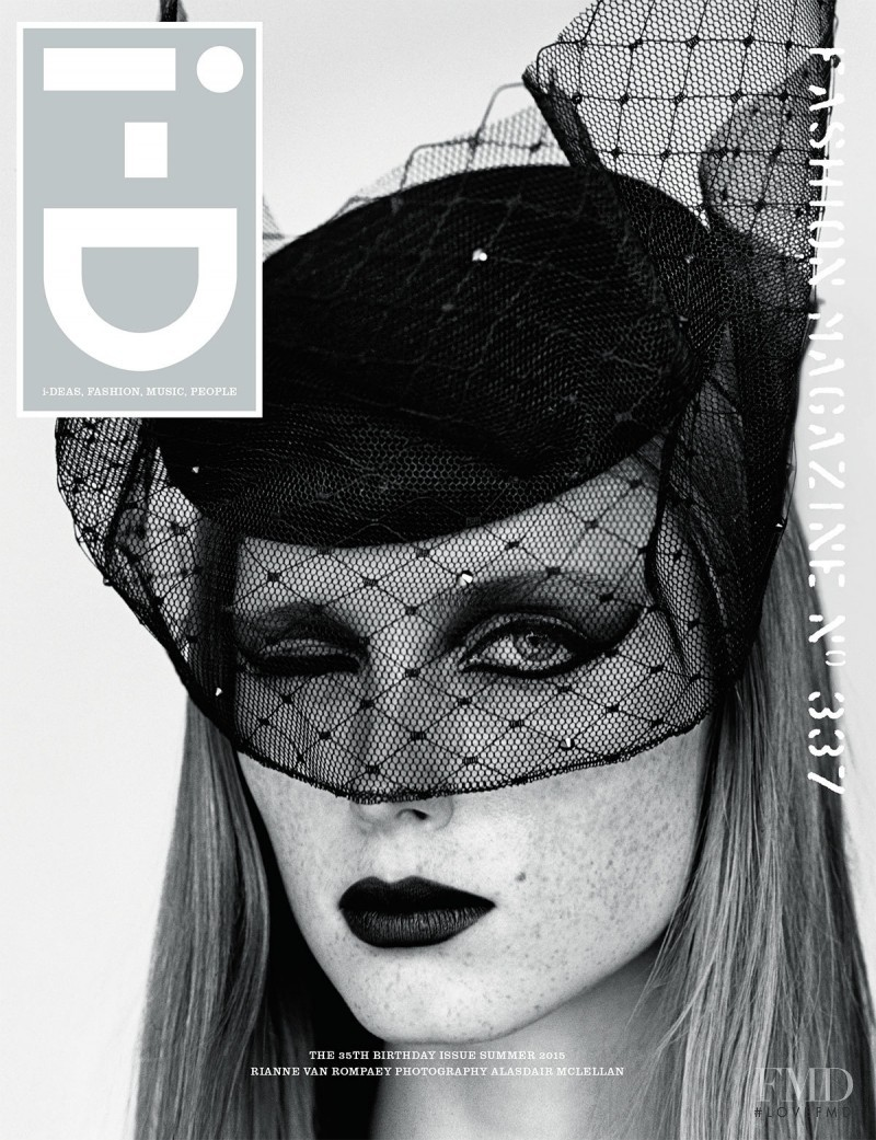 Rianne van Rompaey on the cover of i-D's 35th birthday issue wearing Piers Atkinson styled by Jane How.