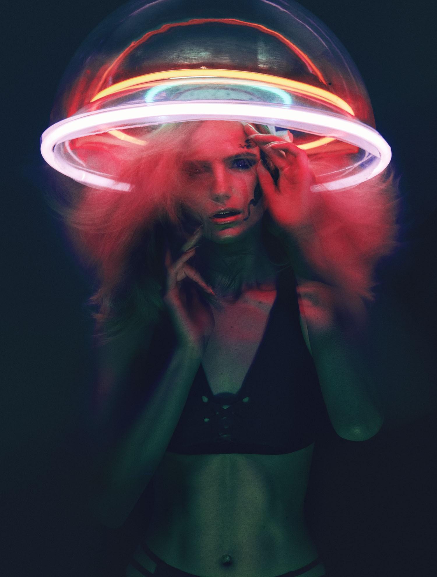 Neon headpiece in Vogue Brazil.