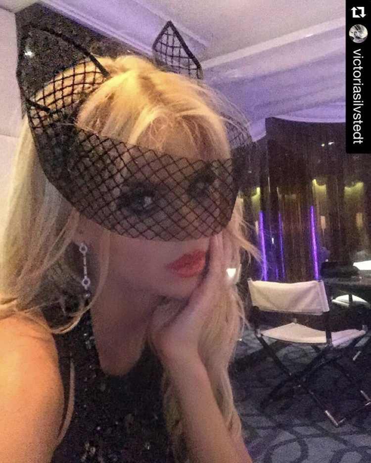 Victoria Silvstedt in SS'16 'Bad Girl' Crin Mask for Eva Cavalli's birthday party.