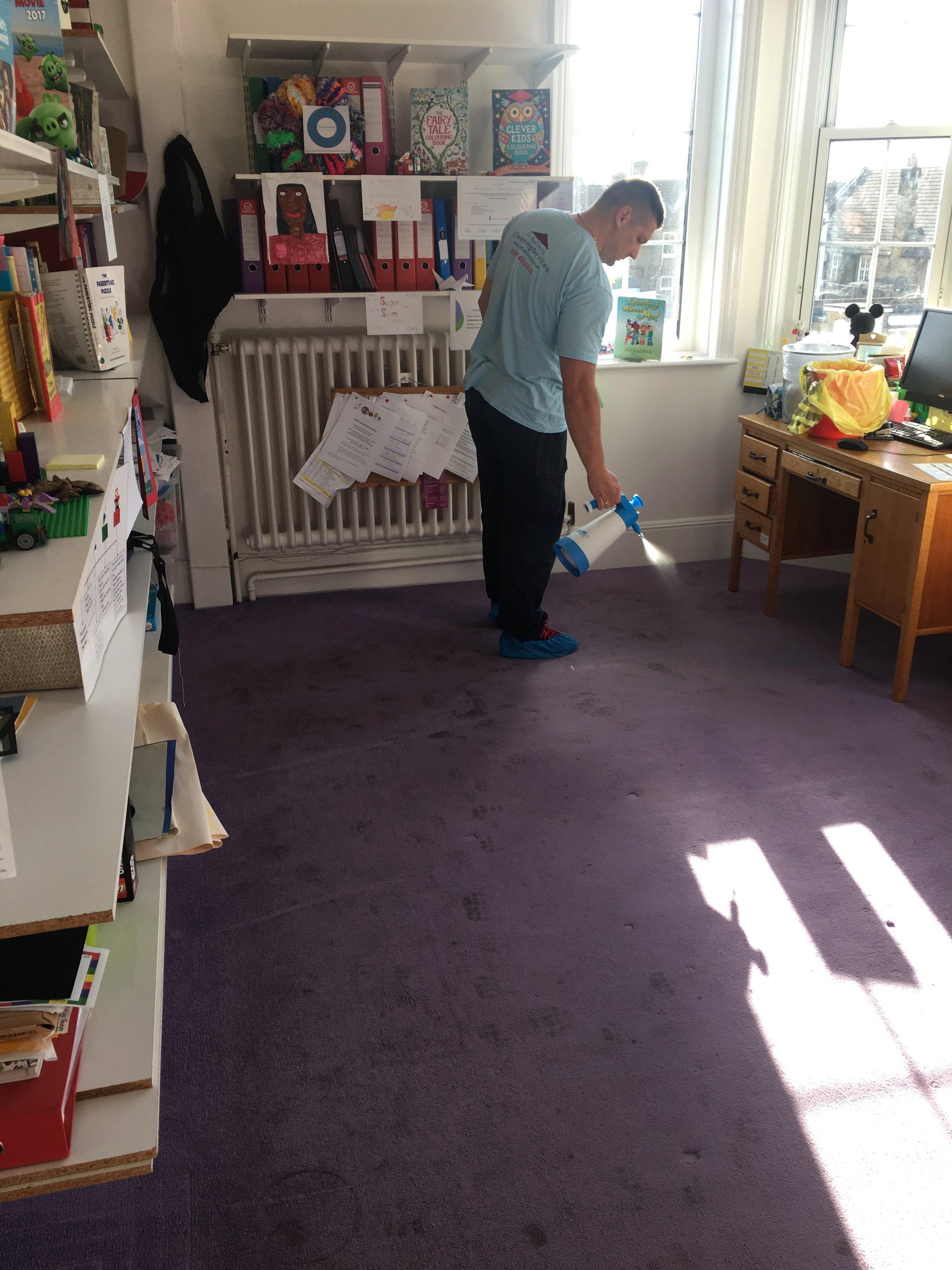 pre-spray soiled carpet in London.jpg