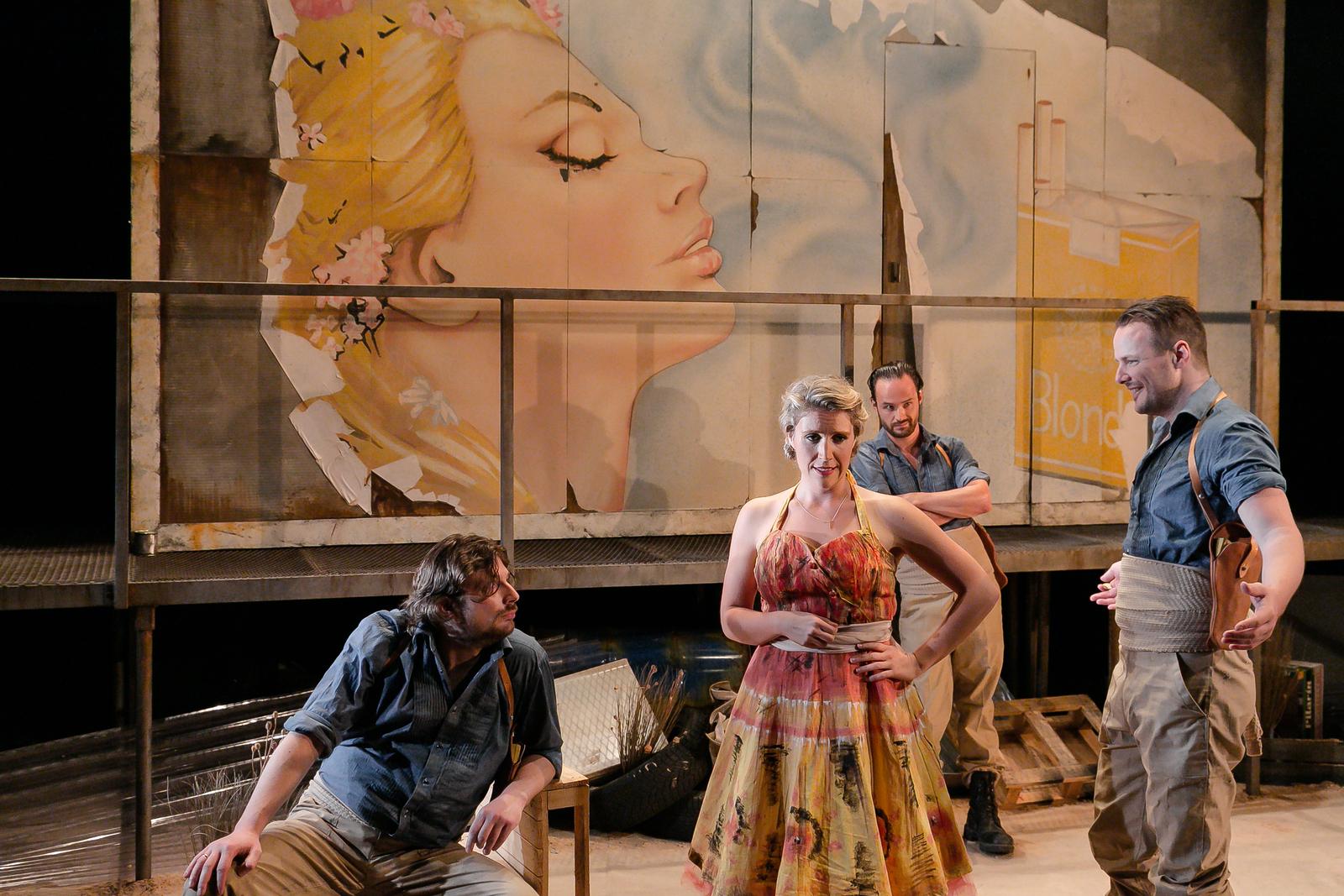 Carmen (OperaUpClose). Marcin Gesla (Zuniga), Louisa Tee (Micaëla), Lawrence Olsworth-Peter (Remendado), Tom Stoddart (Dancairo). Photo Andreas Greiger.