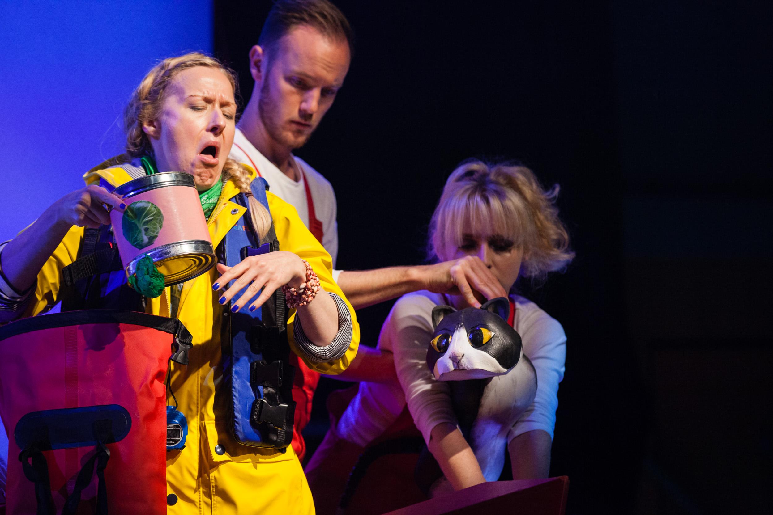 Ulla's Odyssey. OperaUpClose, Kings Place. Sarah Minns, Oskar McCarthy & Pamela Hay. Photo by Christopher Tribble.