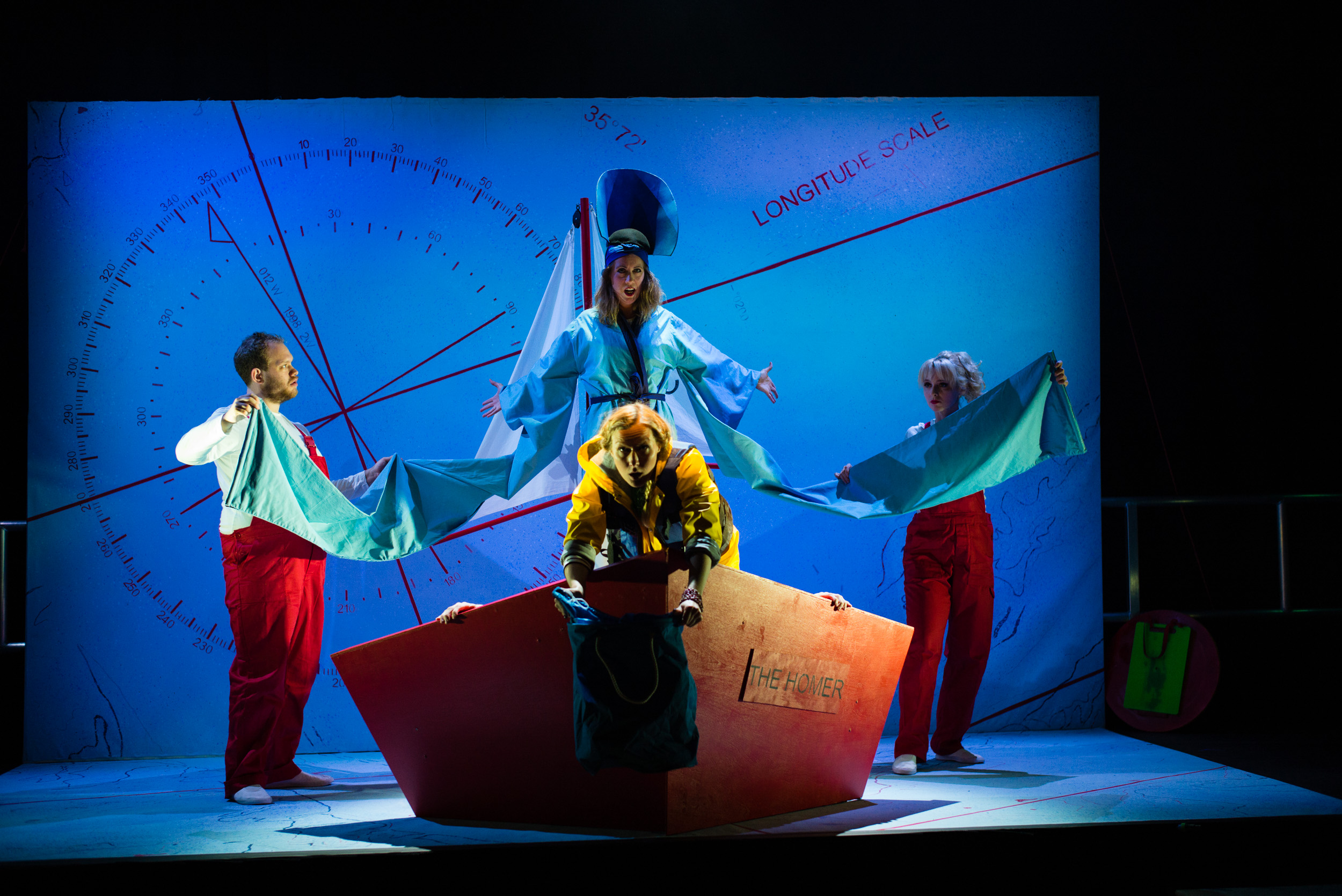 Ulla's Odyssey. OperaUpClose, Kings Place. Edward Hughes, Flora McIntosh, Sarah Minns & Pamela Hay. Photo by Christopher Tribble.