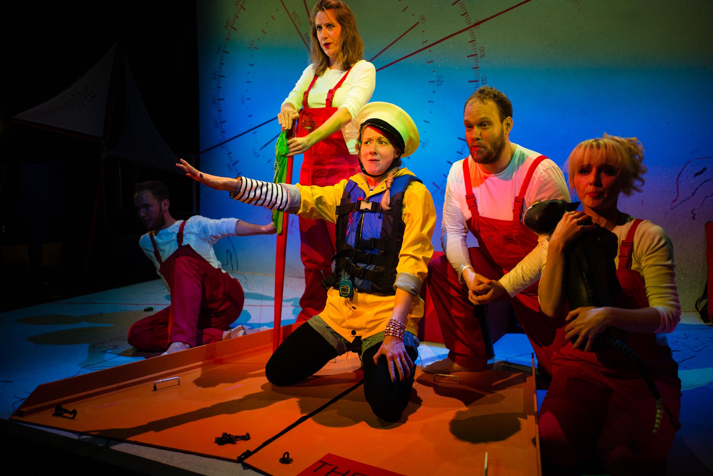 Ulla's Odyssey. OperaUpClose, Kings Place. Oskar McCarthy, Flora McIntosh, Sarah Minns, Edward Hughes & Pamela Hay. Photo by Christopher Tribble.
