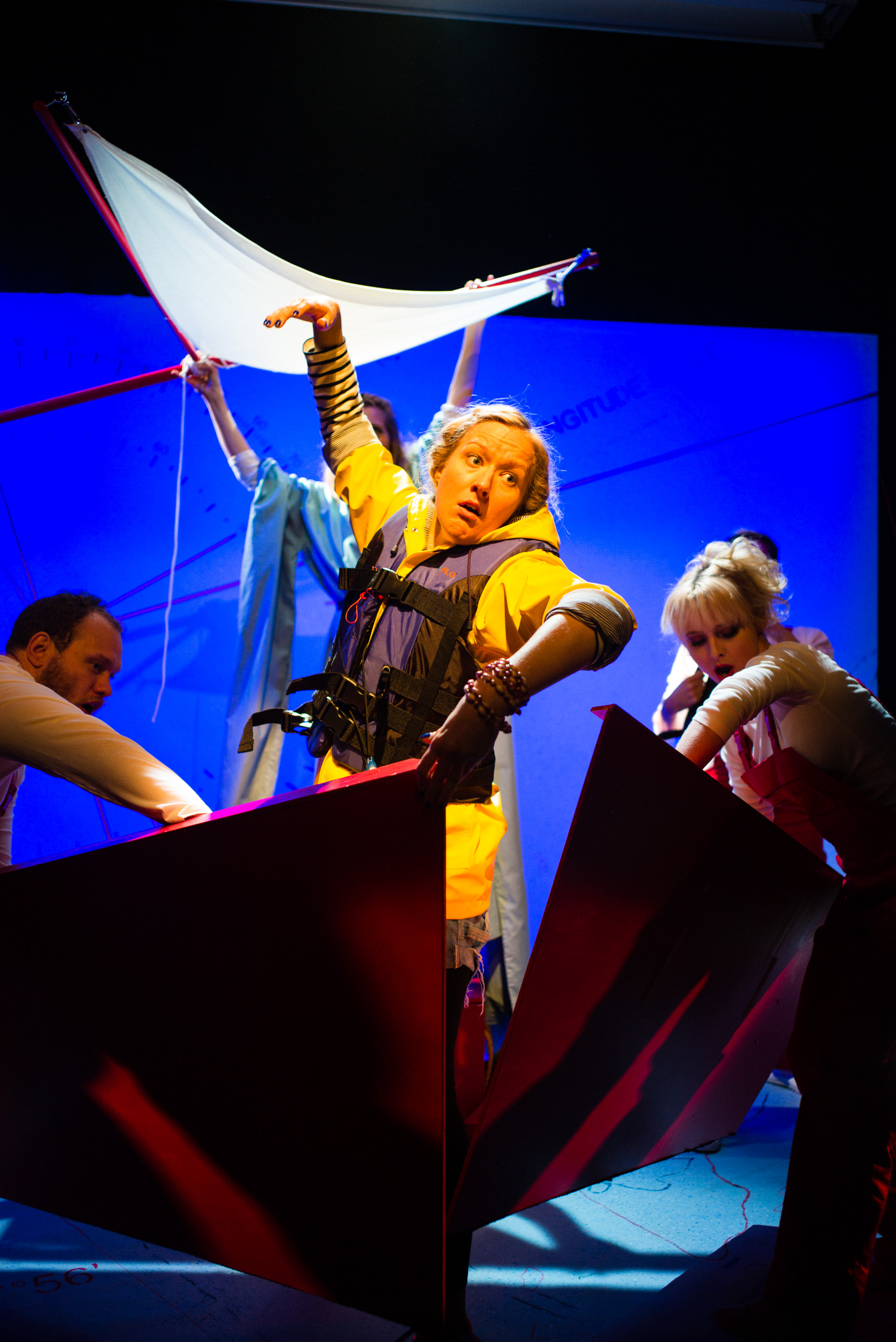 Ulla's Odyssey. OperaUpClose, Kings Place. Edward Hughes, Sarah Minns & Pamela Hay. Photo by Christopher Tribble.