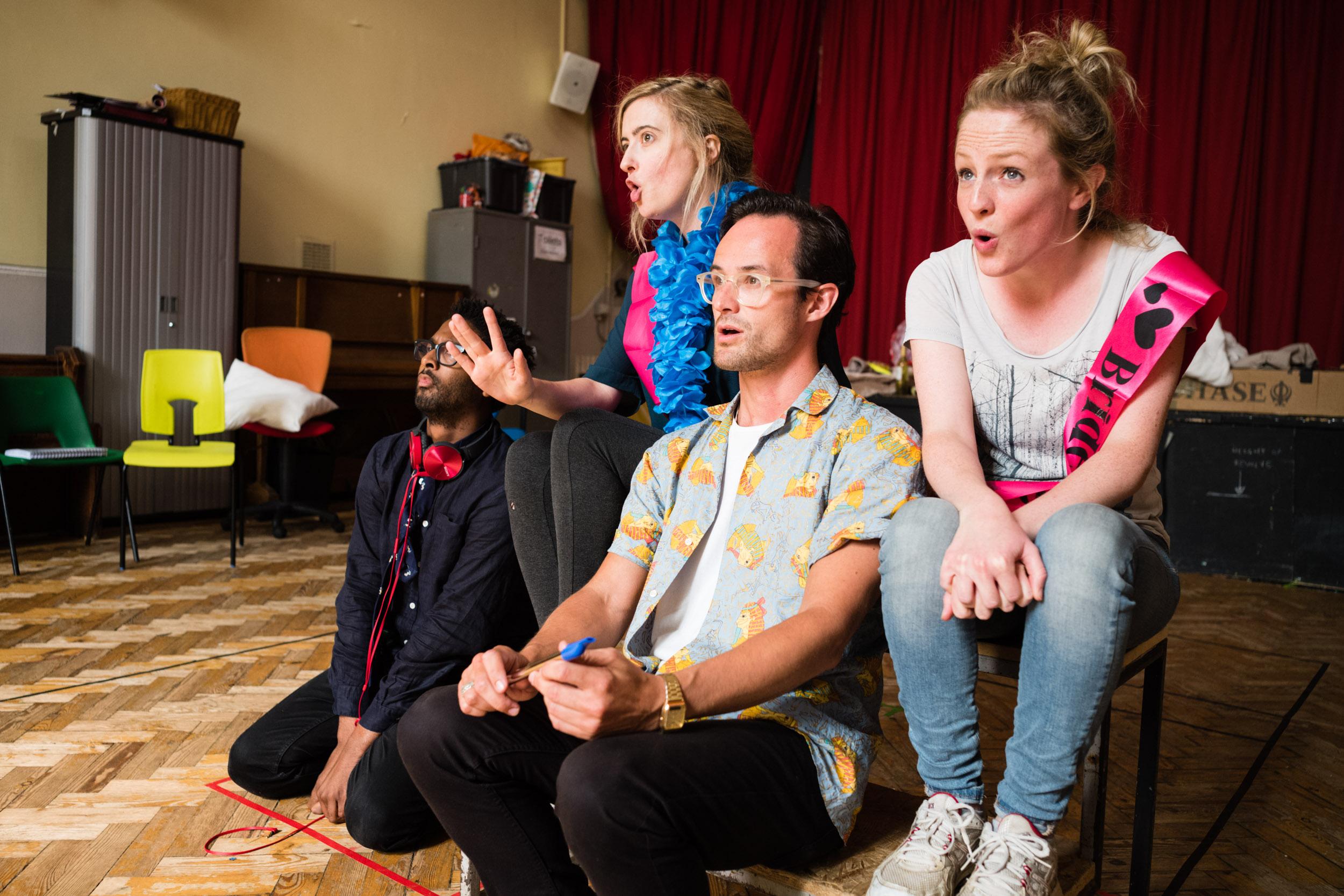 From Left: Abigail Kelly (Pamina), Rosie Middleton (Papagena), Lawrence Olsworth-Peter (Tamino), Susanna Buckle (Pamina)