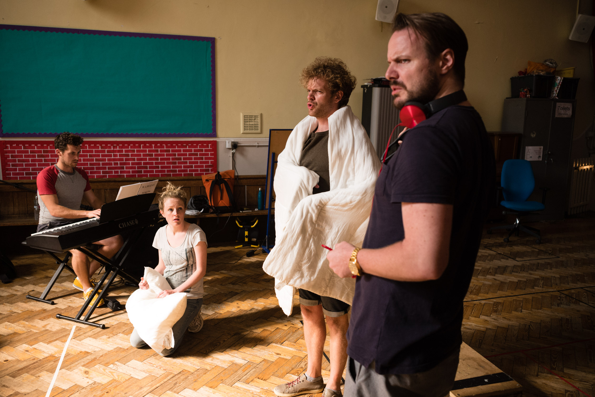 From Left: David Keefe (Musical Director), Susanna Buckle (Pamina), Peter Kirk (Tamino), Tom Stoddart (Papageno)