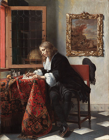 """Man Writing a Letter"" by Gabriël Metsu - National Gallery of Ireland, Public Domain. Wikipedia Commons."