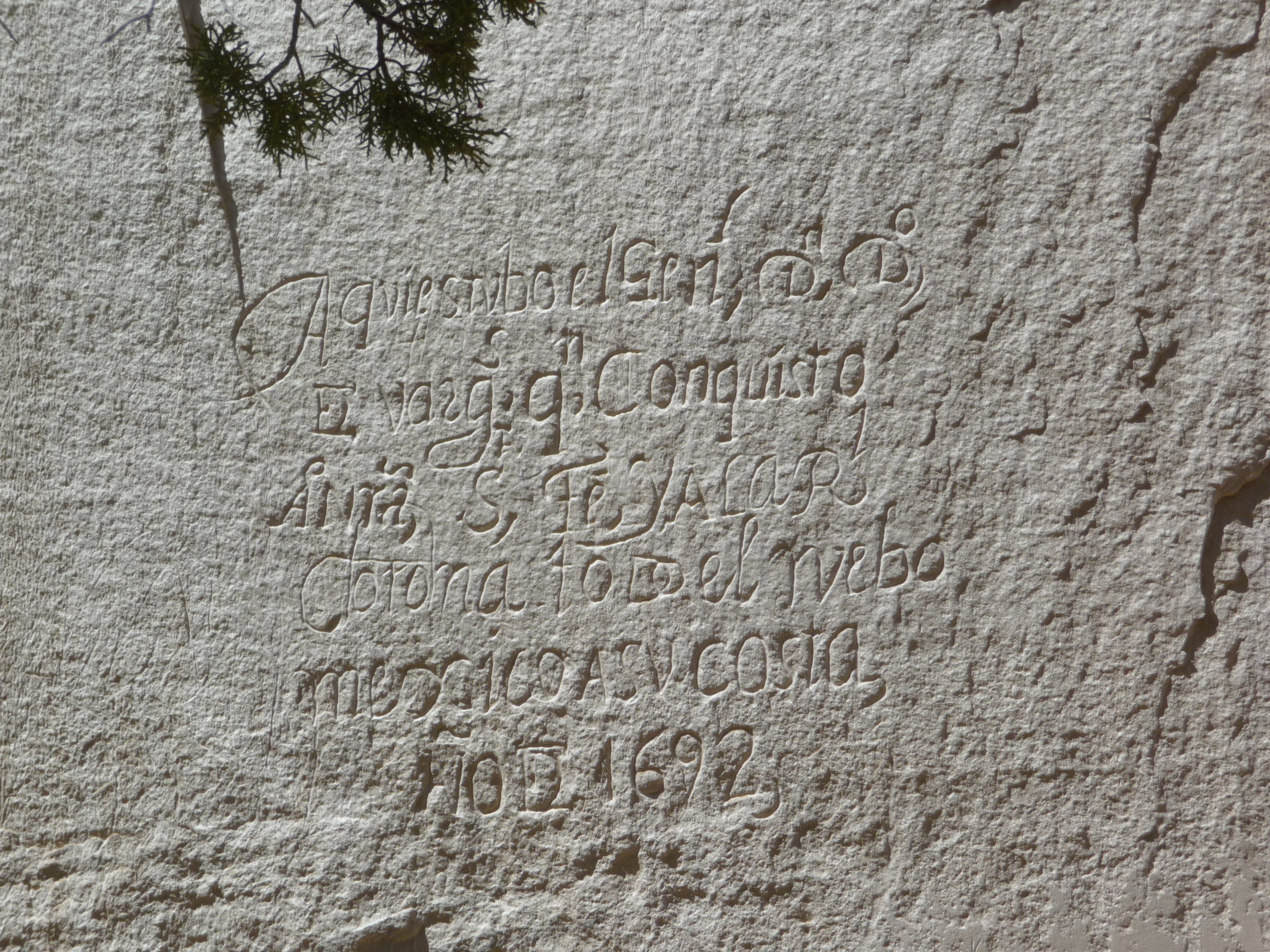 "General Don Diego de Vargas's inscription roughly translates to: ""General Don Diego de Vargas, who conquered for our Holy Faith and for the Royal Crown, all of New Mexico, at his own expense, was here, in the year of 1692."" (Photo credit: Alissa Simon)"