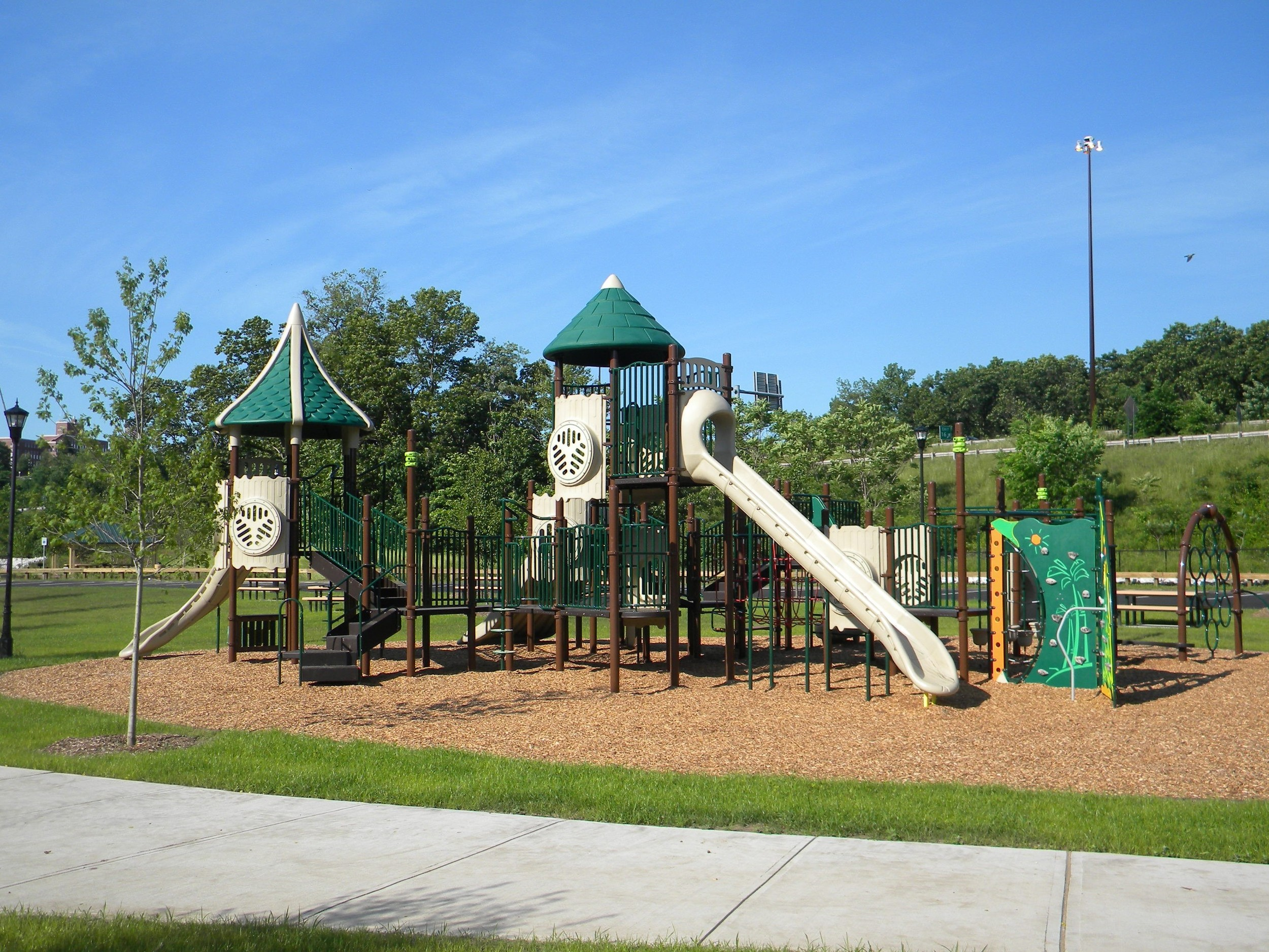 Play structure in kids playground in Community Fields Park, Holyoke, MA