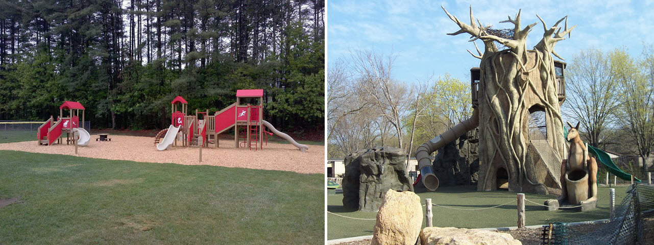 Fantasy jungle playscapes, playground slides