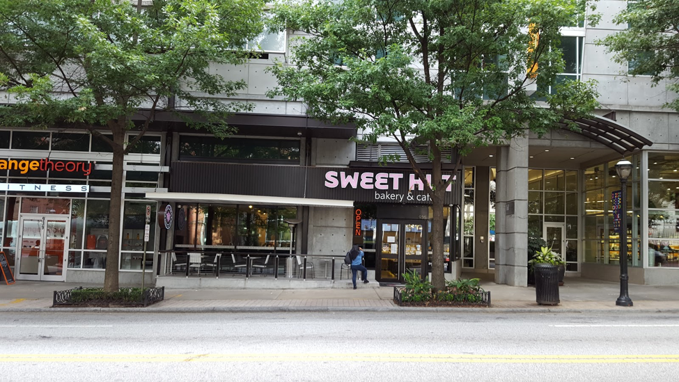 Entrance to Sweet Hut bakery and cafe in Tech Square