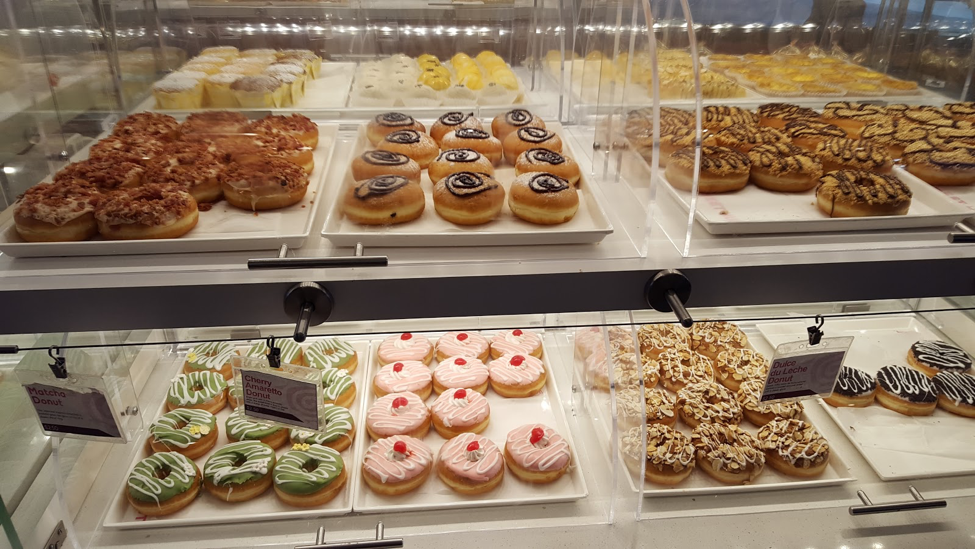 A case of donuts at Sweet Hut