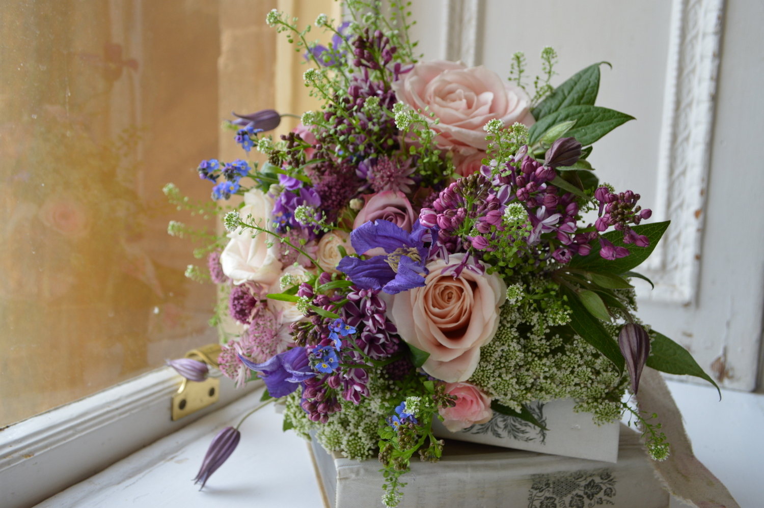 Romantic Wedding Bouquet with Lilac, Roses, Ammi & Clematis.
