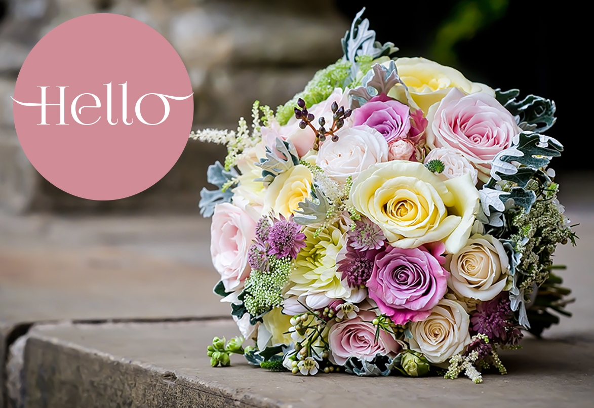 Summer Wedding Bouquet in cream, pink, lilac and grey, Dorton House, Bucks