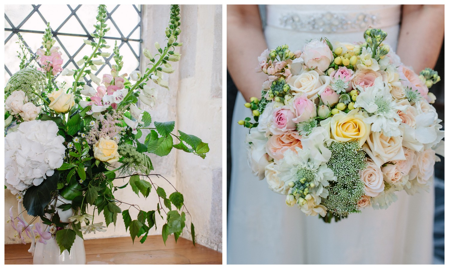 Country style wedding flowers in soft, pastel shades