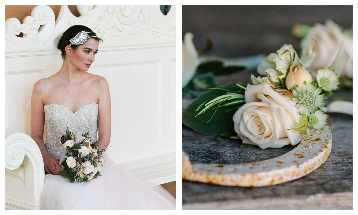 Wedding Flowers in white, blush and silver