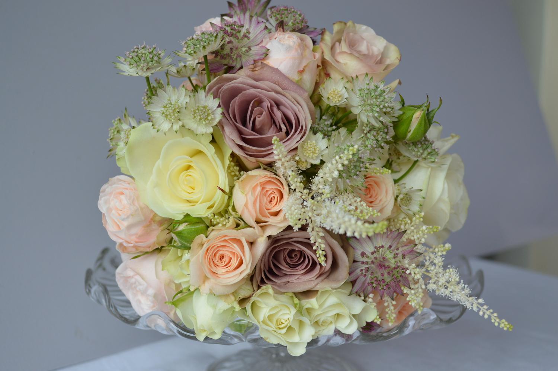 Summer Bridesmaid Bouquet with Amnesia Roses, Astilbe & Astrantia