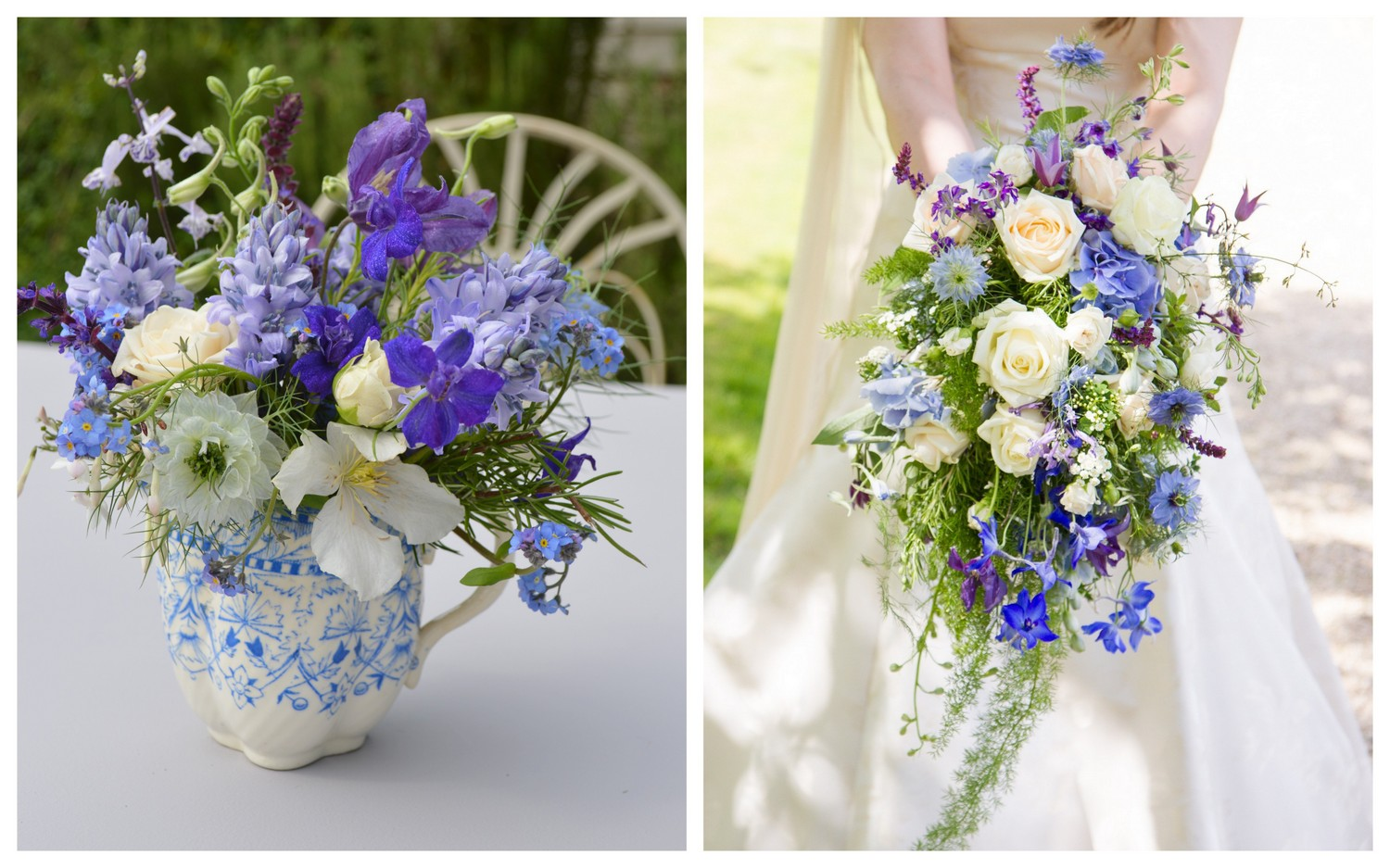 Blue & White cascading wedding bouquet