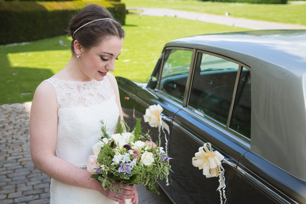 Spring Bride leaving Hartwell House, Bucks