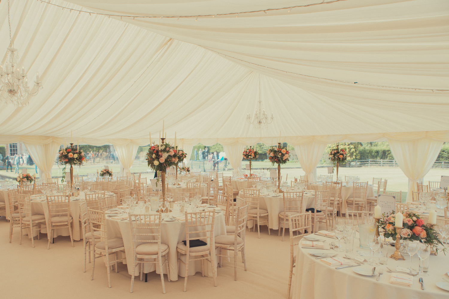 Beautiful summer marquee wedding at Courteenhall, Northamptonshire