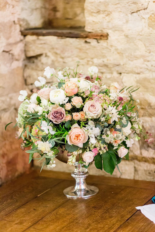 Vintage rose display in silver rose bowl