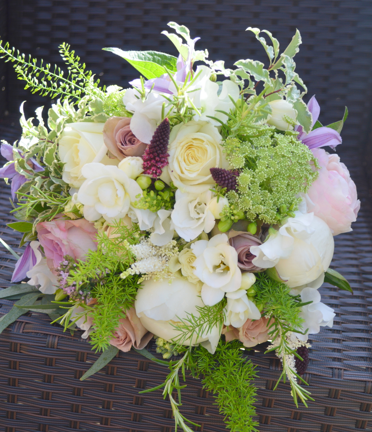 Peony & rose bridal bouquet in white & lilac