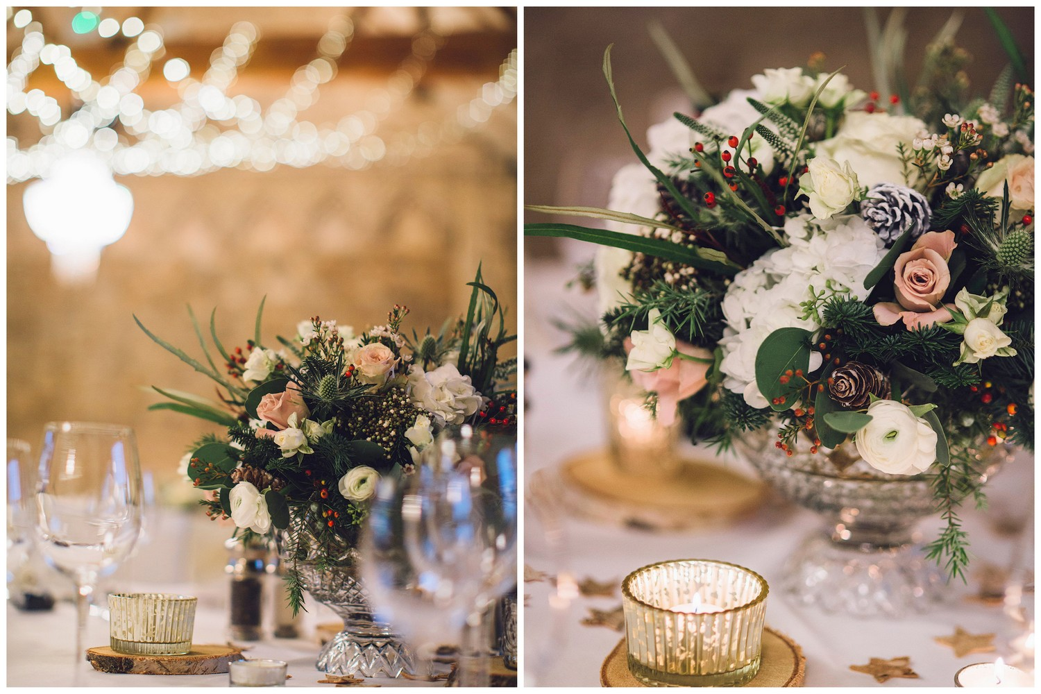 White & Blush Table Centres for a winter wedding