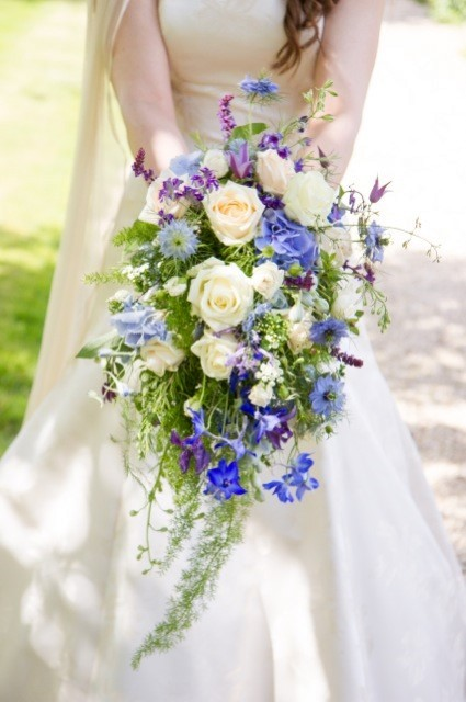 Pale Blue & Cream cascading wedding bouquet